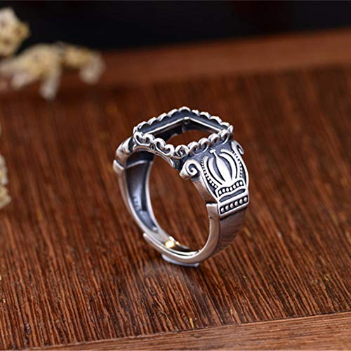 (Men's Ring Blank (10.2x12.5mm Rectangle Blank) Adjustable Thai Sterling Silver Ring Base Vintage Style Rectangle Cabochon Ring Setting R710B)