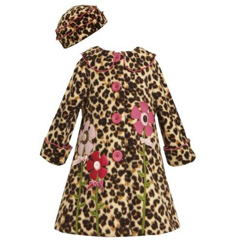 Bonnie Jean GIRLS 2T-6X 2-Piece BROWN LEOPARD ANIMAL PRINT BUTTON-FLOWER STEM FLEECE Outerwear Coat/Hat Set