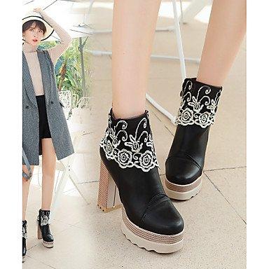 Heart&M Mujer Zapatos Semicuero Otoño Invierno Botas de Combate Botas de Moda Botas Tacón Robusto Dedo redondo Aplique Para Casual Fiesta y Noche beige