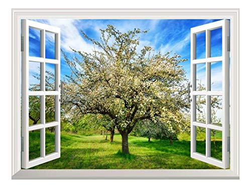 wall26 Removable Wall Sticker/Wall Mural - Idyllic Rural Landscape in Spring with a Beautifully Blossoming Apple Tree | Creative Window View Home Decor/Wall Decor - ()