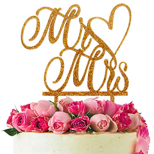 (LINGPAR Mr and Mrs Cake Topper Wood Wedding Cake Topper Anniversary Party Decorations Favors (Gold))