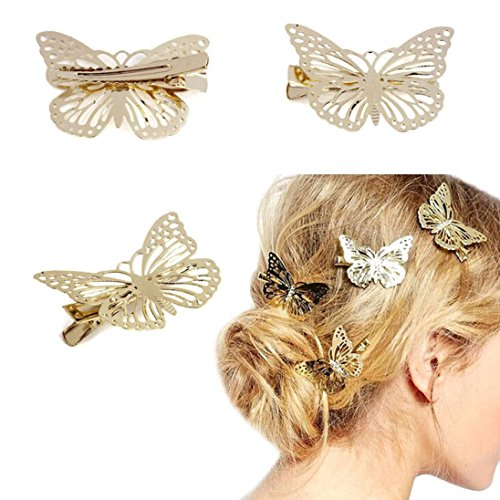 Tenworld Women Girl Gift 2pcs Golden Butterfly Hair Clip Headband Hair Accessories Headpiece (Butterfly Makeup)