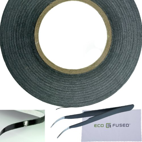 Eco-Fused Adhesive Sticker Tape for Use in Cell Phone Repair - 2mm Tape - also including 1 Pair of Tweezers / Eco-Fused Microfiber Cleaning Cloth (black) (Replacement Glue)
