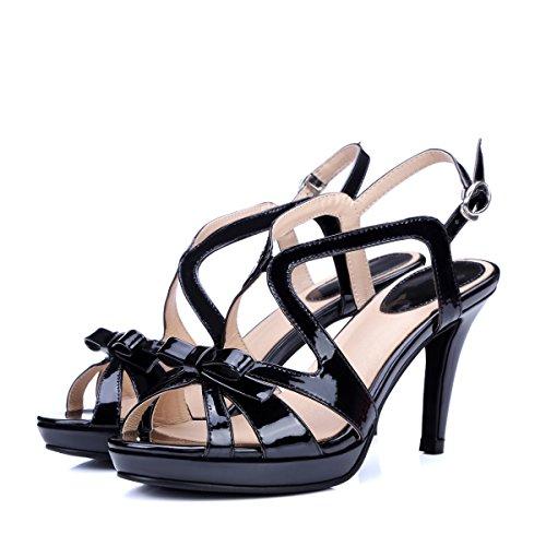 I Sandali Di Cuoio Verniciato Coreano Pompe Con Gli Occhiali.,Black,Eu36Cn37