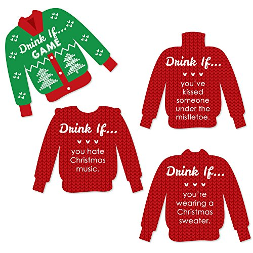 Big Dot of Happiness Drink If Game - Ugly Sweater - Christmas & Holiday Party Game - 24 Count