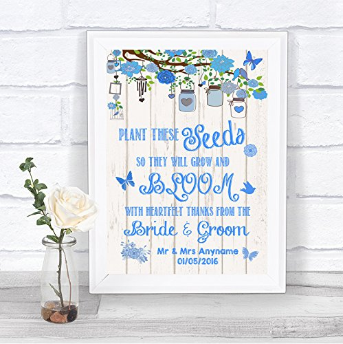 Personalized Heart Seed Cards (Blue Shabby Chic Rustic Wood Effect Pack Of Seeds Personalized Wedding Sign)