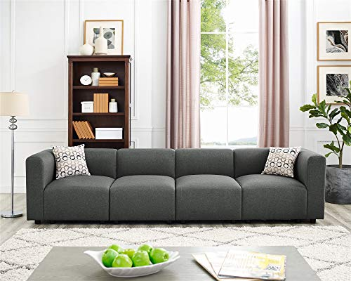 4 Seats Modular Sectional Sofas, Steel Grey Straight Type