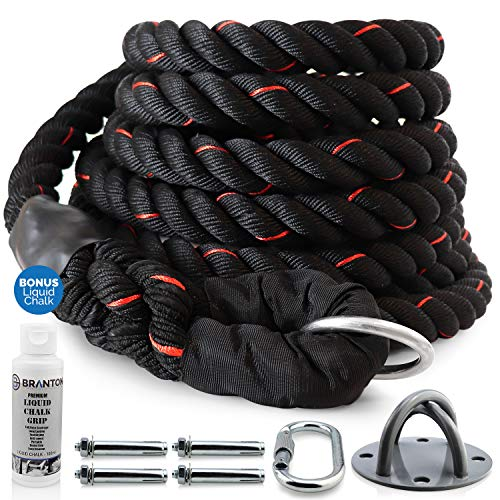 Branton Easy-Install Workout Climbing Rope - 25 feet Exercise Climbing Rope w/Anchor, Carabiner, Anchor Covers & Liquid Chalk - Safe & Sturdy, Great for Indoor & Outdoor Use - Gym Climbing Rope