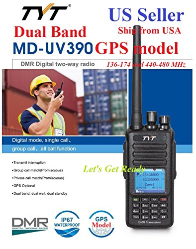 TYT MD-UV390 GPS IP67 Version Dual Band 136-174 400-480 MHz DMR Digital Analog Radio