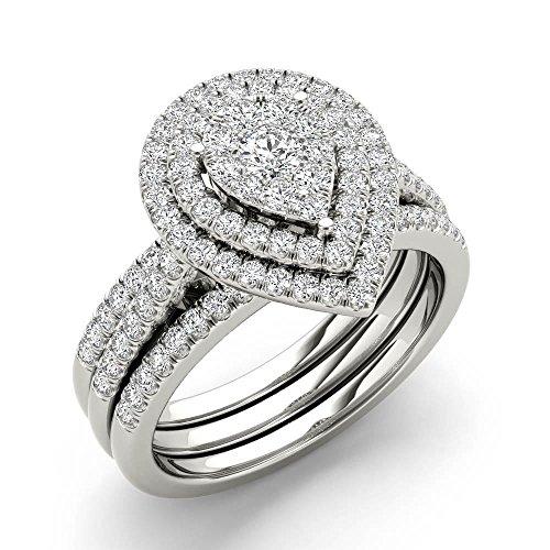 Tdw Wedding Ring Set (Silvergemking 5/8ct TDW Pear Shaped Cluster Halo Bridal Wedding Ring Set)