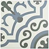 """tile floor patterns  FCD10HDU Hydro Ducados Porcelain Floor and Wall Tile, 9.75"""" x 9.75"""", White/Blue/Grey"""