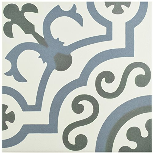 """FCD10HDU Hydro Ducados Porcelain Floor and Wall Tile, 9.75"""" x 9.75"""", White/Blue/Grey"""