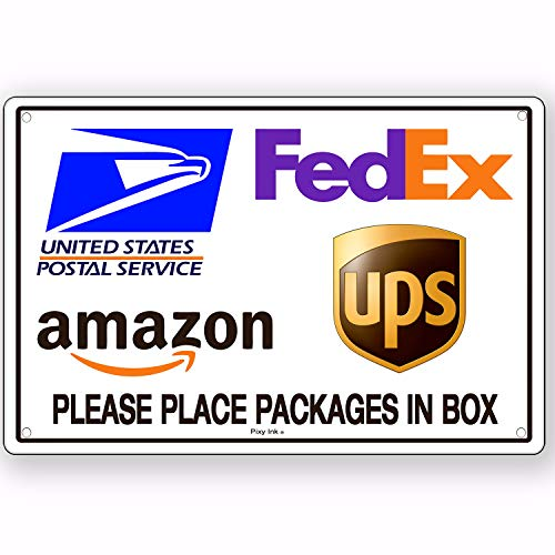 (Package Delivery Place Packages in Box Sign Metal USPS FedEx UPS Amazon 4x6 Inches)