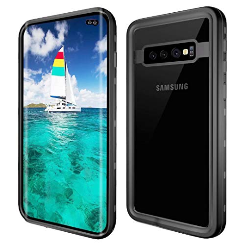 Galaxy S10 Plus Waterproof Case,Built-in Screen Protector[The1st Compatible with Fingerprint ID] Rugged Bumper Full-Body Protective Clear Back Cover Case for Samsung Galaxy S10+/S10 Plus (Black)