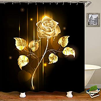 SARA NELL Rose Shower Curtain,Gold Golden Sparkle Rose Shower Curtain with 12 Hooks,Romantic Floral Flower Waterproof 72