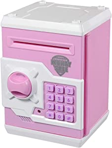 TOPBRY Cartoon Electronic Password Piggy Bank Perfect Toy Gifts for Boys Girls Age 3+ (Pink)