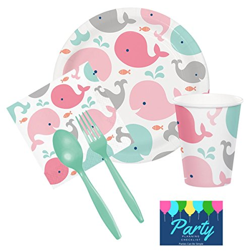 Under The Sea Whale Baby Shower Party Supplies Set Plates Cups Napkins Cutlery Tableware Kit for 16 Guests by PCBS ()