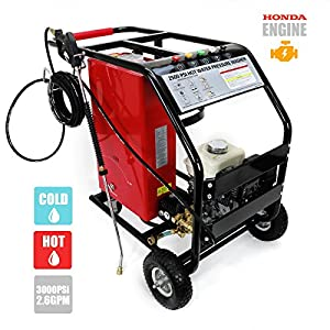 3,000 PSI 2.6 GPM High Pressure Washer w/ Hot and Cold Water Commercial Grade, Powered by Honda