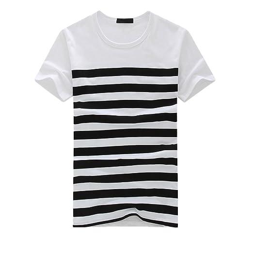 bf0ae41b014 WYTong Mens T Shirts Graphic Summer Boys Short Sleeve Striped Printed  Tshirts Casual T-Shirt
