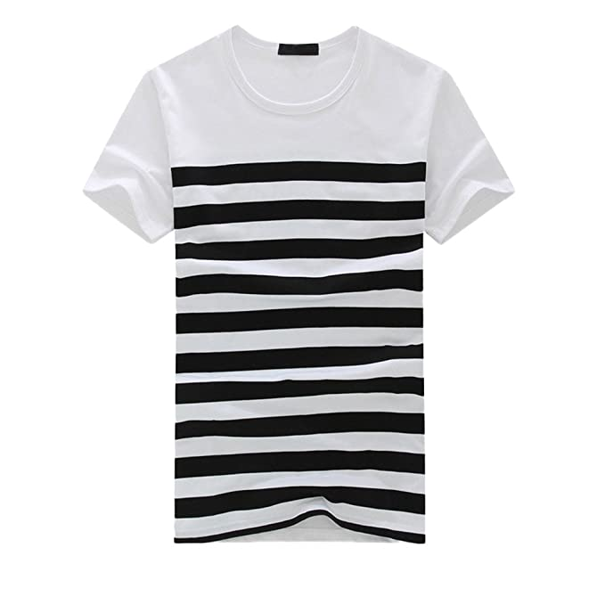 8288de23e5b3 vermers Men s Stripe T Shirts Fashion Casual Printed Short Sleeve Pullover Tops  Tee(M
