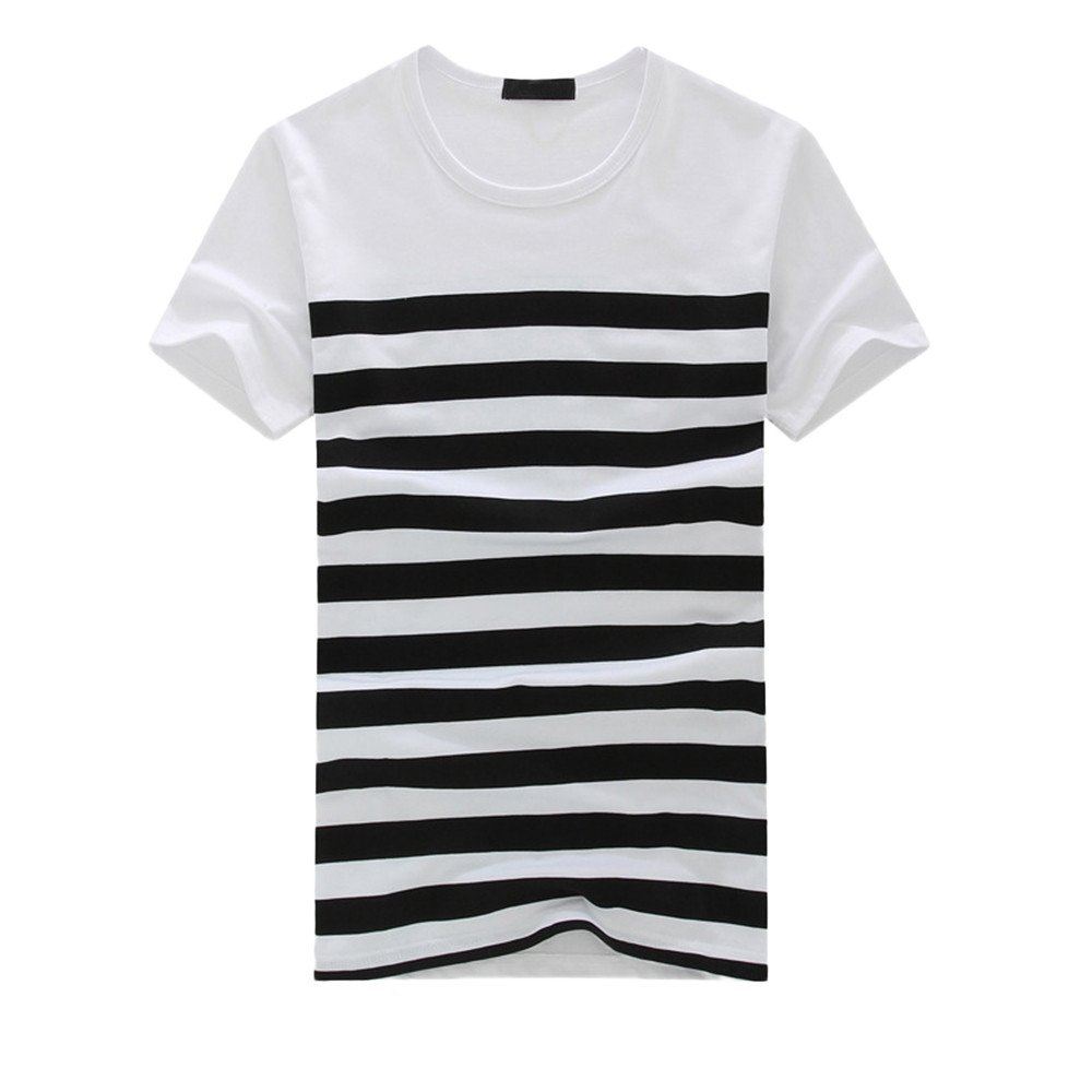Casual Tops White,Men's Fashion Casual Stripe Printed Short Sleeve T-Shirt Pullover Top Blouse Tee,Black,M