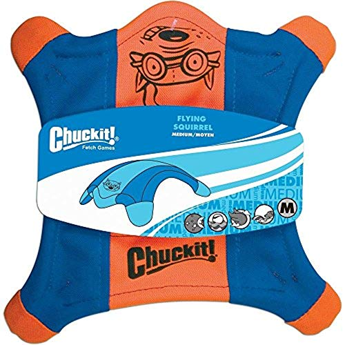 Chuckit! Flying Squirrel Spinning Dog Toy Orange/Blue 3 Sizes Available