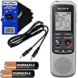 Sony ICD-BX140 MP3 Digital Voice IC Recorder with Built-in 4GB + Auxiliary Cable + 2 AAA Batteries + HeroFiber Ultra Gentle Cleaning Cloth