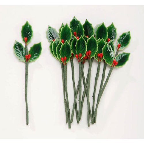Package of 48 Lacquered Holly Leaves with