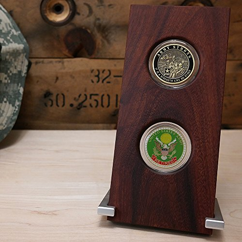 Military Challenge Coin Inkline Display Case - Holds Two Coins - Natural Coyote Wood - For 45mm (1.75