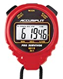ACCUSPLIT Pro Survivor - A601XBK Stopwatch, Clock, Extra Large Display (Red)