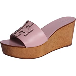 8a7201ee128 Tory Burch INES Wedge Slide in Sea Shell Pink Silver