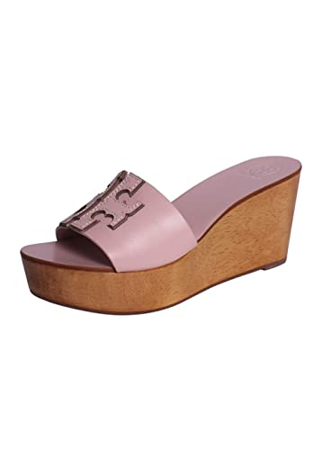 e78ec5e411f6 Tory Burch TB INES Wedge Slide (9.5) Sea Shell Pink Silver