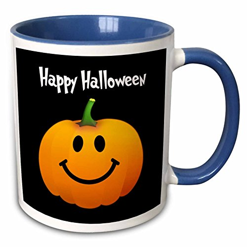 3dRose InspirationzStore Smiley Face Collection - Happy Halloween wish with orange pumpkin smiley face on spooky black Fun cute jack o lantern carving - 15oz Two-Tone Blue Mug (mug_123155_11)