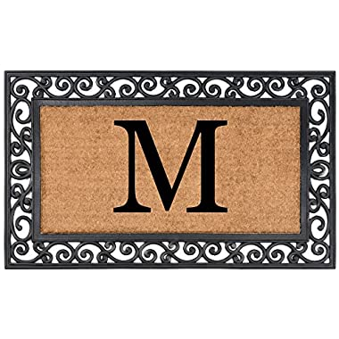 YourOwn Rubber Framed Monogrammed Welcome Coir Mat, 24-Inch by 39-Inch, Any Letter (M)