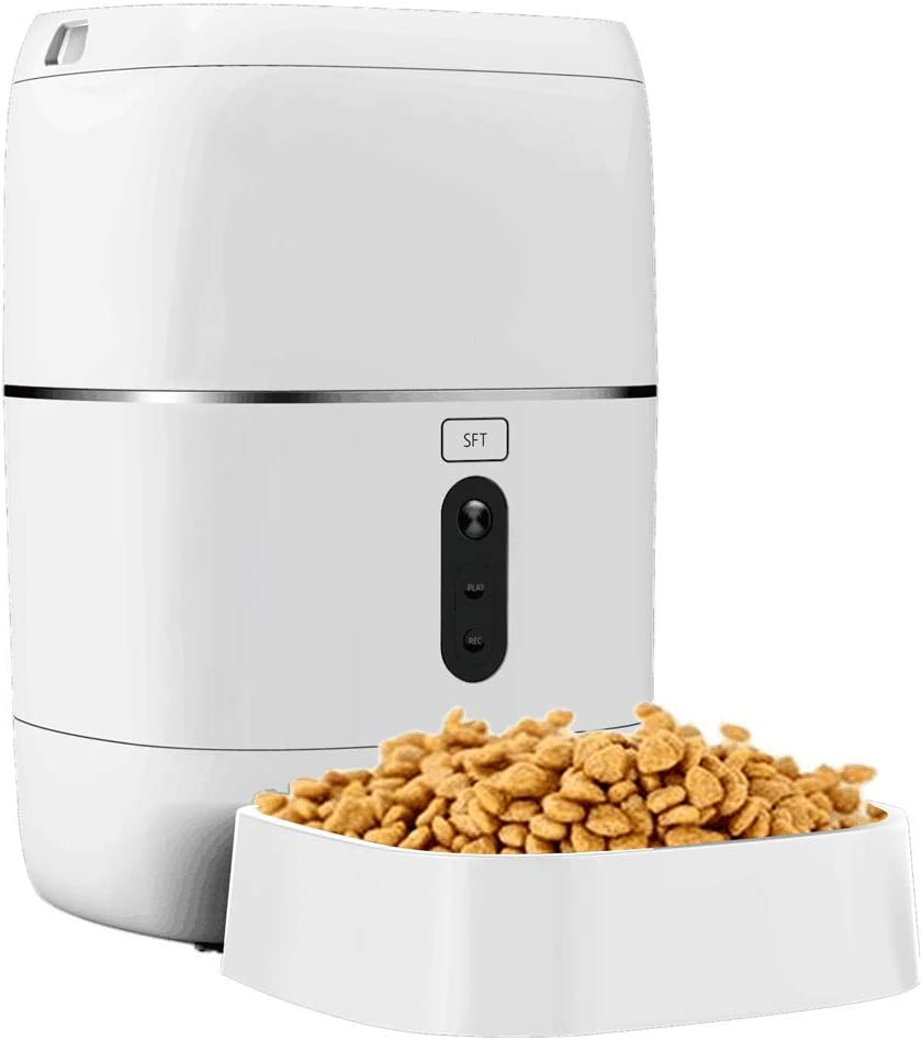 ECOOLBUY WiFi Dog Food Dispenser, Automatic Cat Feeder, Smart, 1080P HD Camera, Wi-Fi Enabled,Compatible with Alexa Google Home, 2-Way Audio, Portion Control, Timer Programmable, 6L Large Capacity