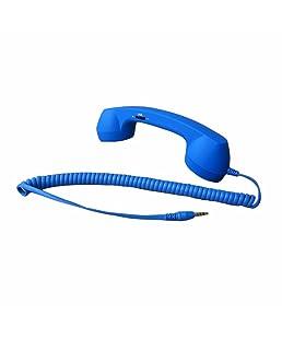 Demarkt Retro Telefonhörer Lautsprecher Handset Mikrofon Hörer Headsets für Smartphones und Handys Tablet PC,für iPhone 4 5 Galaxy Tab P1000 Asus Nexus 7 Win 8 Surface S2 S3 i9300 Blau