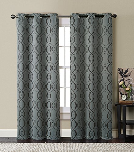 HLC.ME Bryant Energy-Saving Blackout Window Curtain Grommet Panels – Pair – 84″ inch Long (Charcoal Grey)