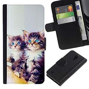 Maine Coon Kittens Blue Eyes Feline Cat - la tarjeta de Crédito Slots PU Funda de cuero Monedero caso cubierta de piel Samsung Galaxy S4 IV I9500