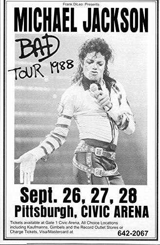 Michael Jackson 1988 Bad Tour Retro Art Print — Poster Size — Print of Retro Concert Poster — Features Michael Jackson, LaVelle Smith, Evaldo Garcia, Randy Allaire and Dominic Lucero . - 1988 Poster