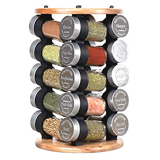 Kitchen Olde Thompson Rotating Rack 20 Jar Embossed Revolving Spice Rack,Acacia Wood | 7.5″ L x 7.5″ W x 13″ H | Holds up to 20 spices spice racks