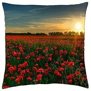 Red flower garden - Throw Pillow Cover Case (18