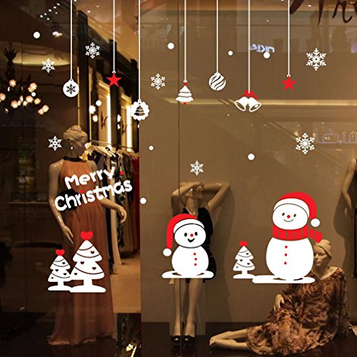 2018 Merry Christmas Window Wall Sticker for Holiday, Snowman Tree Star Snowflakes Bells Balls, Xmas Party Decor Diy Art Decorations for Home Office Shop Door Christmas Tree For Office