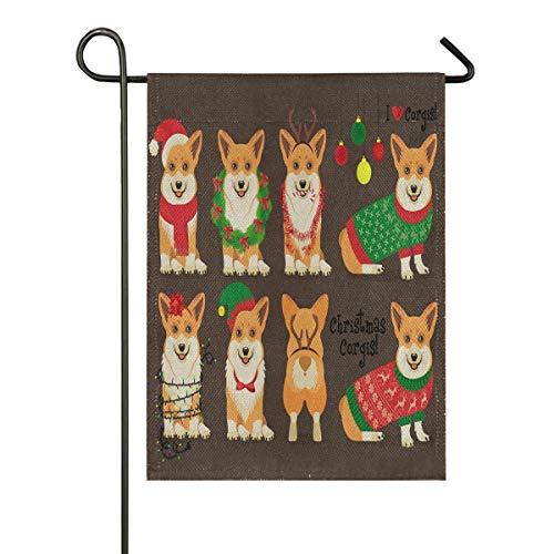 Corgi Happy Halloween (ALAZA Corgis Dog Christmas Burlap Garden Flag Double Sided,House Yard Flags,Holiday Seasonal Outdoor Decorative Flag 12x18)