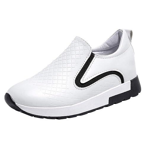 Zapatillas Botines Zapatos Deporte Alta Sneakers Wedges para Mujer,Mujer Cuero Moda Aumentar Perezoso Zapatillas Deportivas Caminar Dedos Redondos Zapatos ...