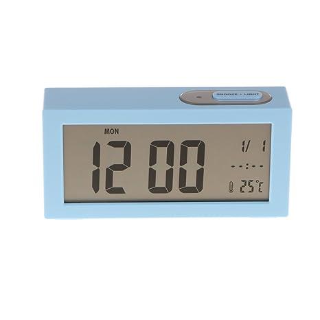 Sharplace Reloj Digital Despertador Rectangular Número Escritorio Cama Relojes Dormitorio de Niños - Azul