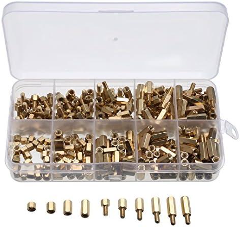 [해외]300 개 M3 육각 스페이서 황동 스페이서 육각 나사 황동 볼트 너트 받침 기판 고정을 위한 PCB 보드 / 300pcs M3 Hex Spacer Brass Spacer Hex Screw Brass Bolt Nut Stand-off PCB Board for Fixing Board