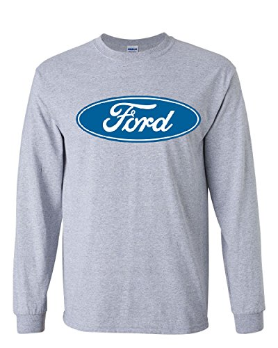 Licensed Ford Logo Long Sleeve T-Shirt Truck Mustang F150 Muscle Car Gray XL ()