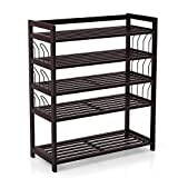 HOMFA Bamboo Shoe Shelf Storage Organizer 5-Tier with 12 Hanging Bar Entryway Shoe rack, Home Shelf Storage Cabinet for Shoes, Books and Flowerpots Retro Color