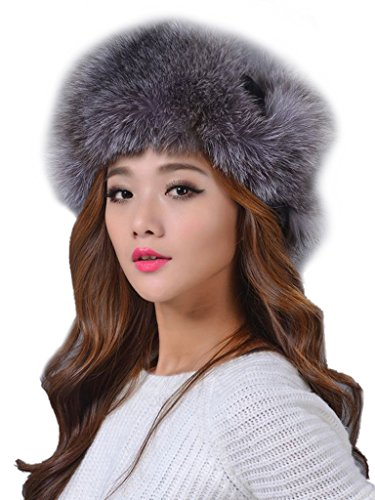 LITHER Women's Winter Trapper Hat Genuine Fox Raccoon Fur Russian Ushanka Hat - Russian Hat Ushanka Women