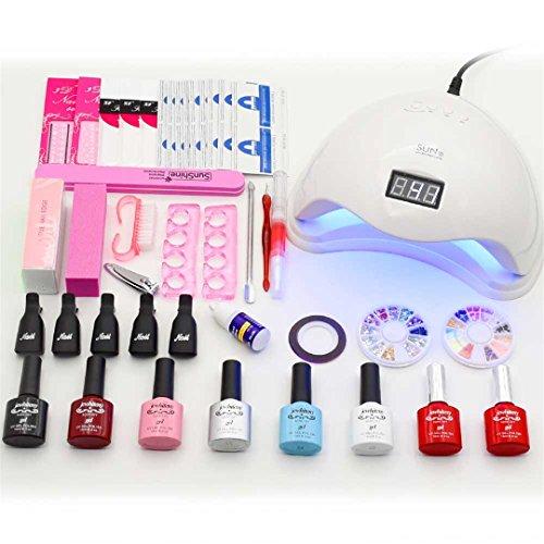 WEIHUALI Nail Art Set UV LED Lamp Dryer 6 Color Nail Gel Polish Uv Gel Varnish Nail Polish Top Coat Manicure Tools Set Nail Kits sun5 48W Lamp set